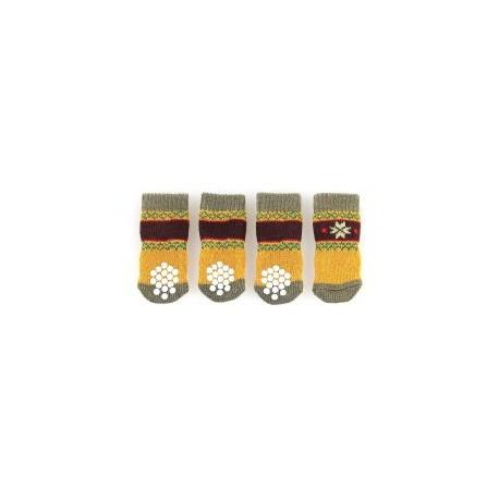 Chaussons de protection NATURI olive/moutarde, avec anti-glisse pour chiens