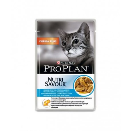 Purina ProPlan Nutrisavour Derma Plus Cat cabillaud- aliment humide en sachet