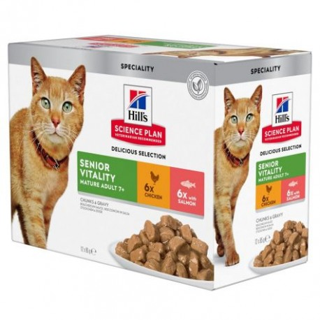 Hill's Science Plan Feline Adult 7+ Youthful Vitality Chicken / Salmon Mixed case - sachet